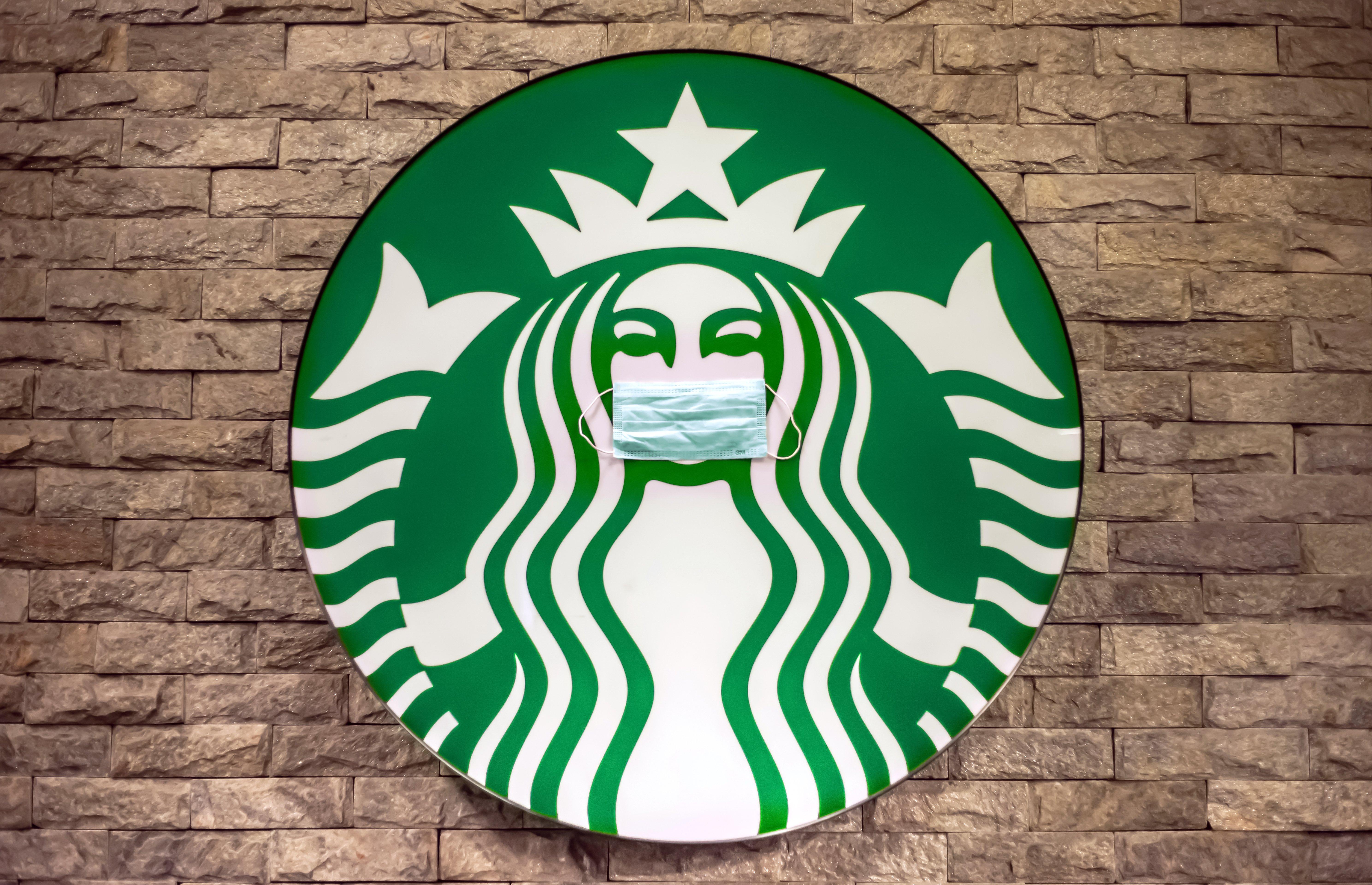food service market research starbucks face mask logo