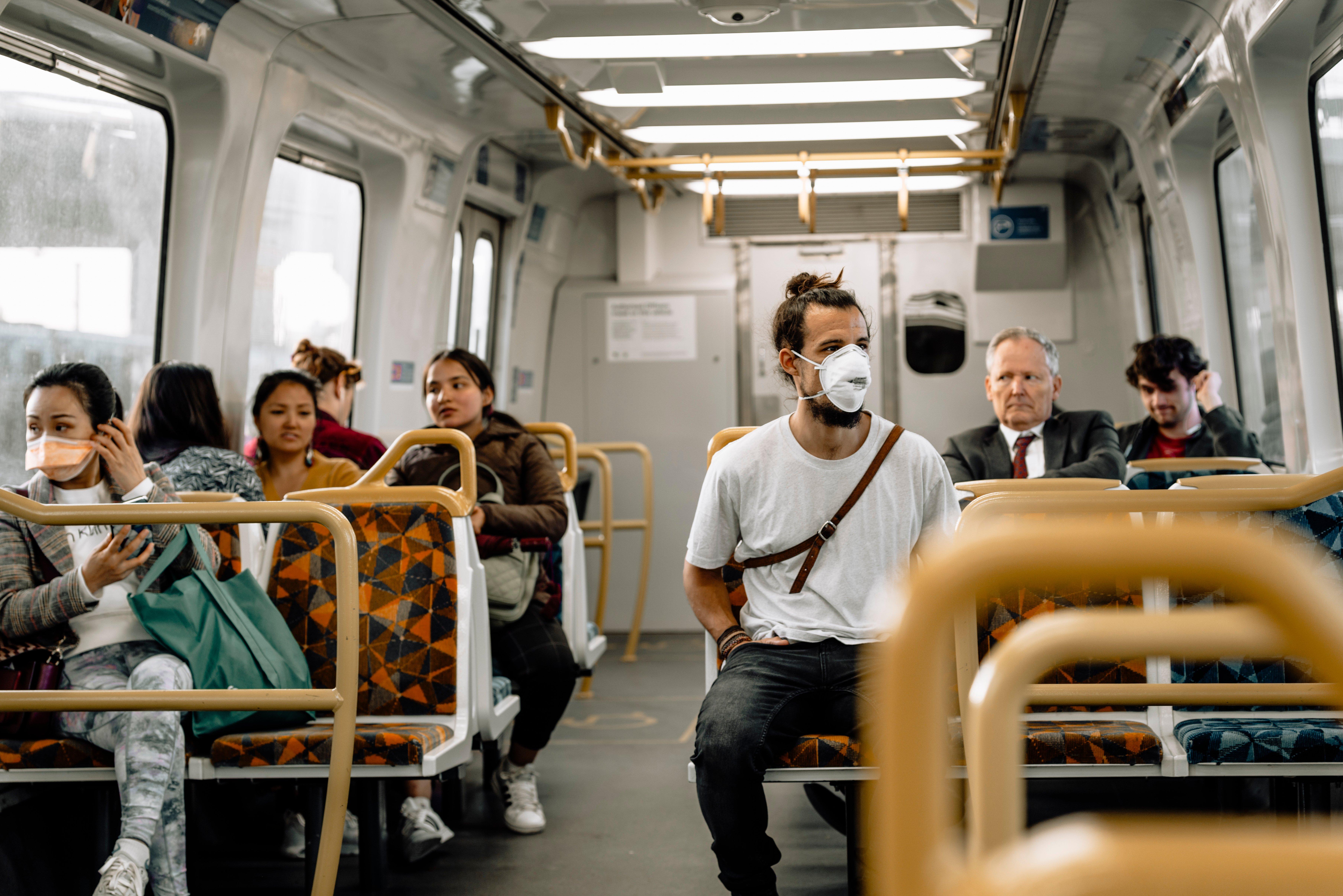 market research transportation masks on train