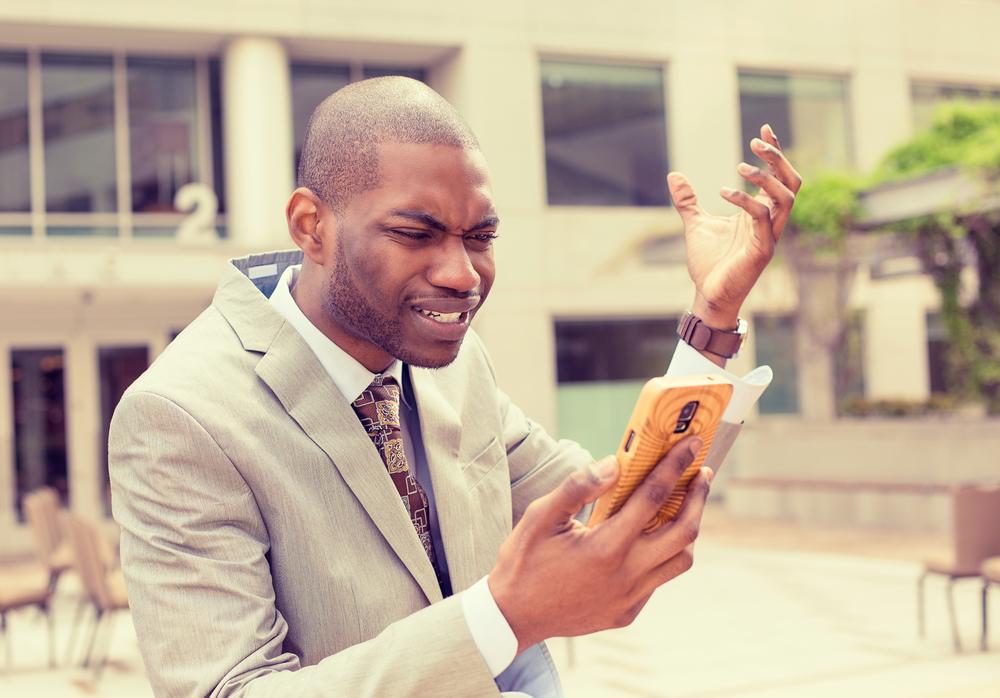 online social listening frustrated man phone